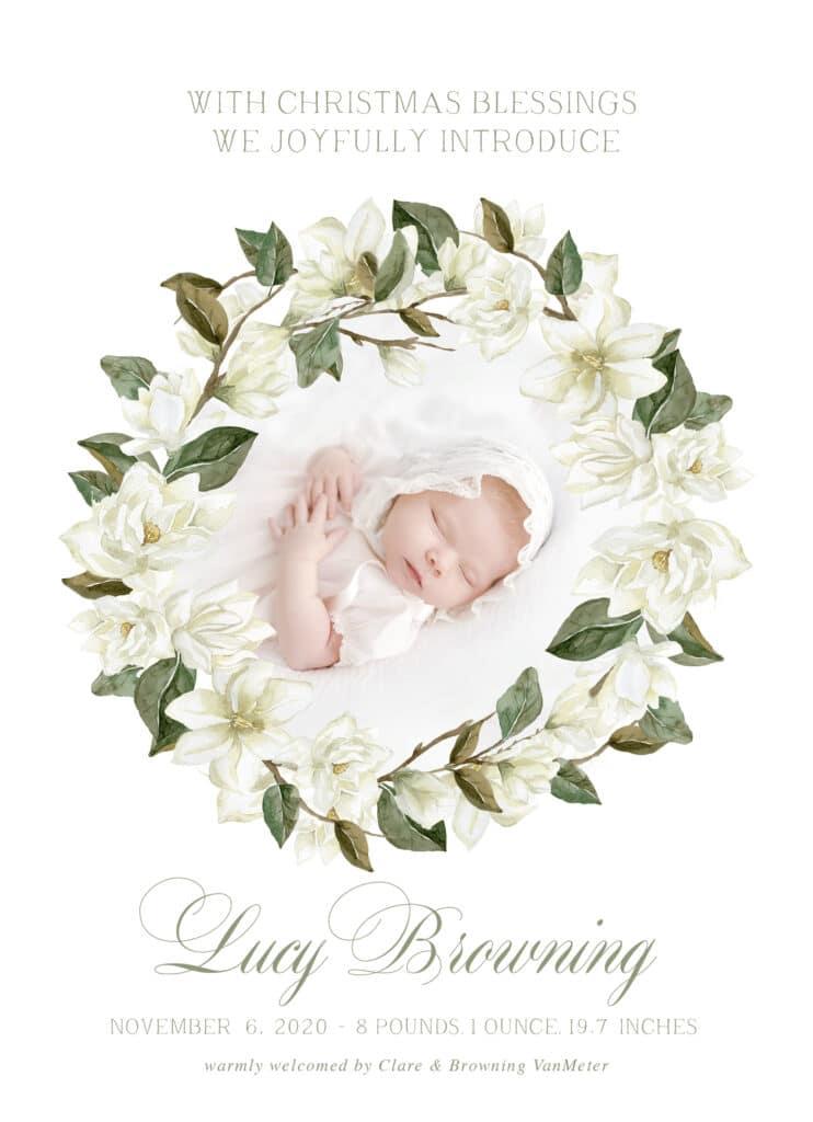 Custom Magnolia Birth Announcement
